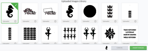 Select the seahorse icon to insert onto canvas